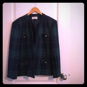 Jackets & Blazers - Stunning green plaid vintage blazer, XL